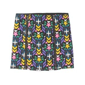 [a11-28] H&M | stained glass patterned mini skirt